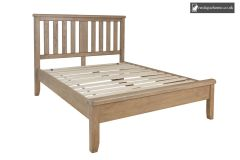 Smoked Oak Double 4ft 6in Wooden Headboard With Low End Footboard