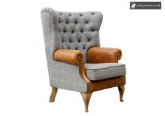 Chair Collection Wrap Around Button Back Wing Chair - Grey and Tan