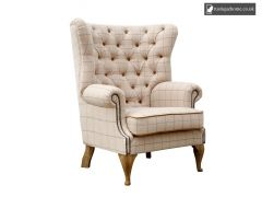 Chair Collection Wrap Around Button Back Wing Chair - Natural and Oak