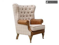 Chair Collection Wrap Around Button Back Wing Chair - Natural and Tan