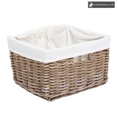 Wicker Rectangular Basket With Hole Handles & Lining