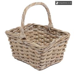 Wicker Square Basket With High Handle, Grey, 2 x 2 Weaving