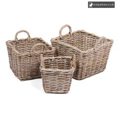Wicker Set of 3 Square Baskets With Ear Handles In Grey