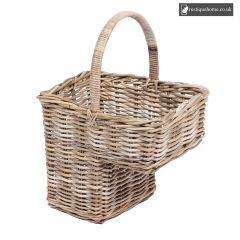 Wicker Step Basket With High Handle In Grey