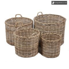 Wicker Set of 4 Round Baskets With Ear Handles In Grey