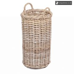 Wicker Round Tapered Basket With Ear Handles In Grey