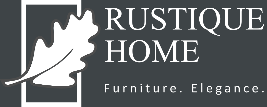 Rustique Home logo grey and white oak leaf for footer