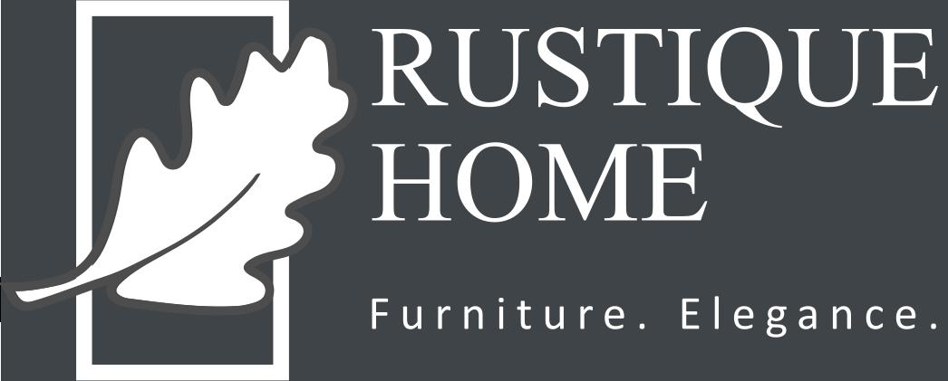 Rustique Home logo grey and white oak leaf for footer
